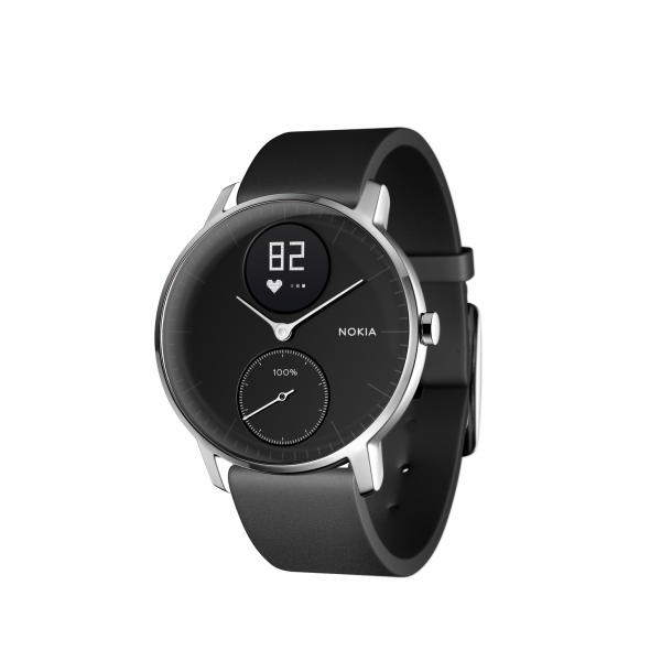 NOKIA Activité Steel HR - zegarek monitorujący aktywność fizyczną i puls iOS i Android (czarny 36mm)