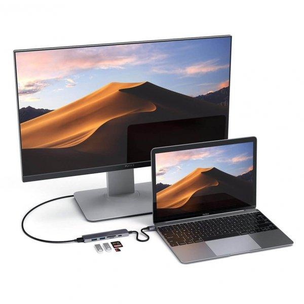 Satechi USB-C Slim Multiport V2 HUB - USB 3.0 / HDMI / USB-C(PD) / microSD / SD Space Gray (gwiezdna szarość)