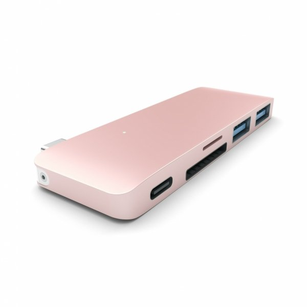 Satechi Pass Through USB-C Hub - USB 3.0/USB-C (Power Delivery)/SD/microSD/Rose Gold
