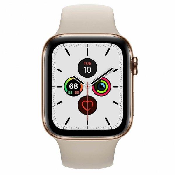 Apple Watch Series 5 44mm GPS + LTE (cellular) Stal nierdzewna w kolorze złotym z paskiem sportowym w kolorze beżowym