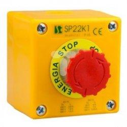 Kaseta sterownicza 1-otworowa przycisk grzybkowy czerowny 1Z 1R szara IP65 SP22K108-2