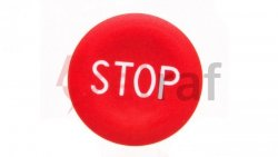 Wkładka przycisku 22mm płaska czerwona z symbolem STOP ZBA434