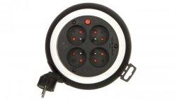 Kompaktowy przedłużacz 3m zwijany Comfort-Line CLS 4x230V czarny/biały H05VV-F 3G1,5 1109224