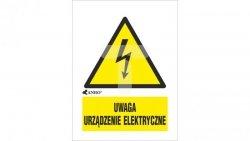 Tabliczka ostrzegawcza /UWAGA URZĄDZENIE ELEKTRYCZNE 52X74/ 10EOA/Q1/F