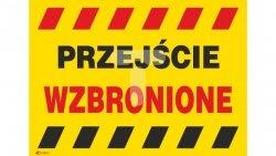 Tabliczka ostrzegawcza /Przejście wzbronione 350x250/ B15/L/P