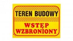 Tabliczka ostrzegawcza /Teren budowy wstęp wzbroniony 350x250/ B16/L/P