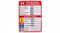 Tabliczka ostrzegawcza /Telefony alarmowe 210x150/ 93/210X150/F