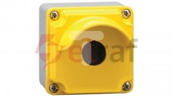 Metalowa obudowa pusta 1 otwór pokrywa żółta z osłoną LPZM1A5P