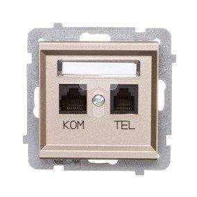 SONATA Gniazdo teleinformatyczne RJ45 + RJ11 KRONE szampański złoty GPKT-R/K/m/39