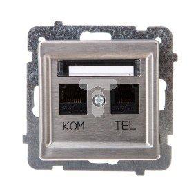SONATA Gniazdo teleinformatyczne RJ45 + RJ11 KRONE stal inox GPKT-RM/K/m/37
