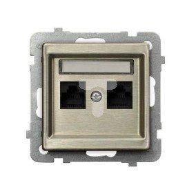 SONATA Gniazdo komputerowe podwójne 2xRJ45 kat.6a nowe srebro GPK-2RM/T6AE/m/44