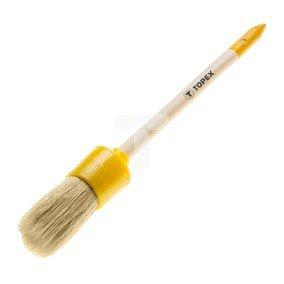 Pędzel owalny emulsyjny 6 uchwyt drewniany włosie sztuczne do farb emulsyjnych lateksowych i akrylowych 20B902