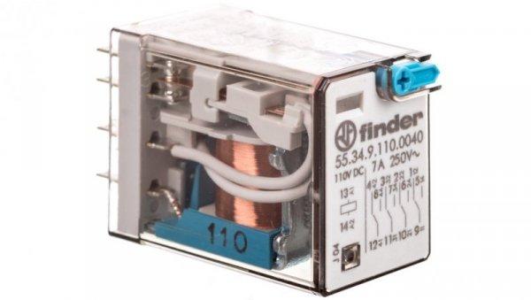 Przekaźnik miniaturowy 4P 7A 110V DC, przycisk testujący, mechaniczny wskaźnik zadziałania 55.34.9.110.0040