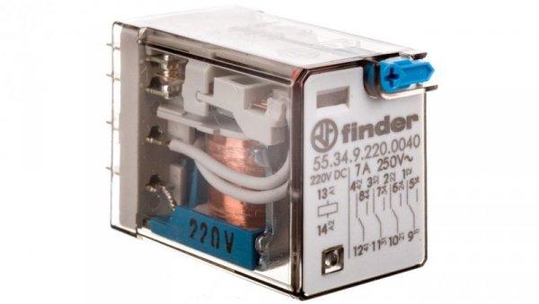 Przekaźnik miniaturowy 4P 7A 220V DC, przycisk testujący, mechaniczny wskaźnik zadziałania 55.34.9.220.0040