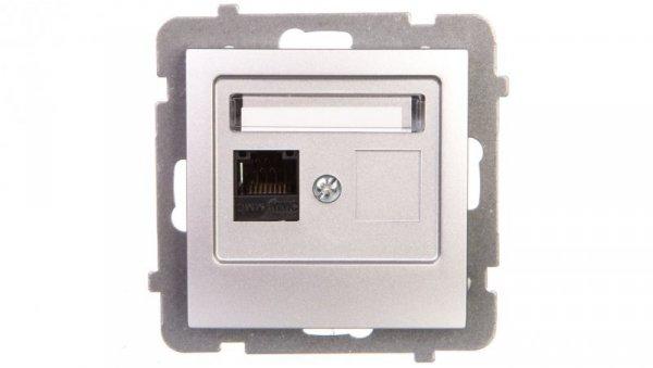 AS Gniazdo komputerowe pojedyncze RJ45 kat.5e MMC srebro GPK-1G/K/m/18