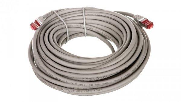 Kabel krosowy patchcord S/FTP (PiMF) kat.6 LSZH szary 15m 50892