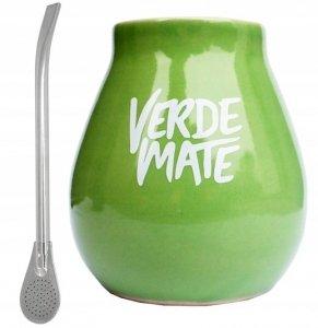 Matero Ceramiczne Zielone VM + Bombilla Yerba Mate