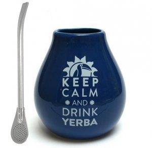 Matero Ceramiczne Granatowe Keep calm and Drink Yerba Mate + BOMBILLA
