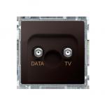 Gniazdo antenowe TV-DATA tłum.:5dB czekoladowy mat, metalizowany