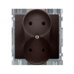 Gniazdo wtyczkowe podwójne bez uziemienia czekoladowy mat, metalizowany 16A