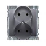 Gniazdo wtyczkowe podwójne bez uziemienia z przesłonami torów prądowych srebrny mat, metalizowany 16A