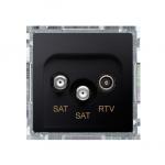 Gniazdo antenowe SAT-SAT-RTV satelitarne podwójne tłum.:1dB grafit mat, metalizowany