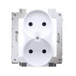 Gniazdo wtyczkowe podwójne bez uziemienia z przesłonami torów prądowych do ramek Premium (moduł) 16A 250V, zaciski śrubowe, biał