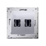 Gniazdo HDMI podwójne srebrny mat, metalizowany