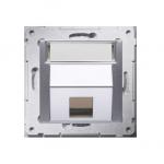 Pokrywa gniazd teleinformatycznych na Keystone skośna pojedyncza z polem opisowym srebrny mat, metalizowany