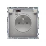 Gniazdo wtyczkowe pojedyncze w wersji IP44 -  klapka w kolorze transparentnym satynowy, metalizowany 16A