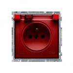 Gniazdo wtyczkowe pojedyncze w wersji IP44 z przesłonami torów prądowych -  klapka w kolorze transparentnym czerwony 16A