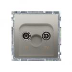Gniazdo antenowe R-TV przelotowe tłum.:10dB satynowy, metalizowany