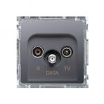 Gniazdo antenowe R-TV-DATA tłum.:10dB inox, metalizowany