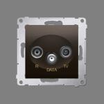 Gniazdo antenowe R-TV-DATA tłum.:10dB brąz mat, metalizowany