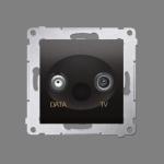 Gniazdo antenowe TV-DATA tłum.:5dB antracyt, metalizowany
