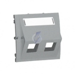 Pokrywa gniazd teleinformatycznych na Keystone skośna podwójna z polem opisowym aluminiowy, metalizowany