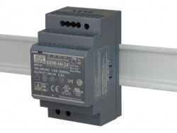 HDR-60-24 wejście 85-264V AC, wyjście 24V DC / 2,5A / 60W, montaż na szynie DIN, regulacja napięcia wyjściowego 21,6 - 29V DC