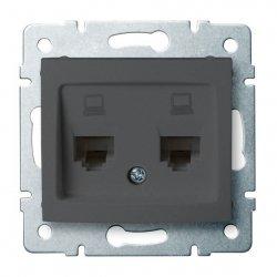 Gniazdo komputerowe podwójne niezależne, (2x RJ45Cat 6  Jack) DOMO 01-1420-041 gr 24933