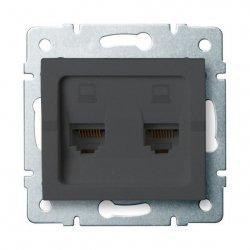 Gniazdo komputerowe podwójne niezależne, (2x RJ45Cat 6  Jack) LOGI 02-1420-041 gr 25288