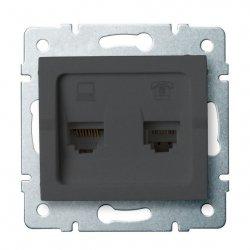 Gniazdo komputerowo-telefoniczne, (RJ45 Cat 6+RJ11) LOGI 02-1440-041 gr 25290