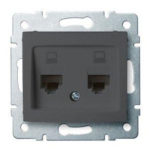 Gniazdo komputerowe podwójne niezależne (2x RJ45Cat 6 Jack) DOMO 01-1420-041 gr 24933