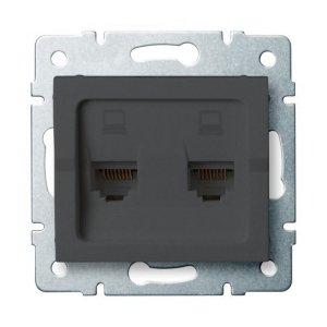 Gniazdo komputerowe podwójne niezależne (2x RJ45Cat 6 Jack) LOGI 02-1420-041 gr 25288