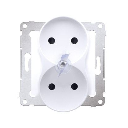 Gniazdo wtyczkowe podwójne bez uziemienia z przesłonami torów prądowych do ramek Nature (moduł) 16A 250V, zaciski śrubowe, biały