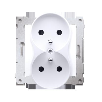 Gniazdo wtyczkowe podwójne z uziemieniem z przesłonami - do Ramek NATURE (moduł) 16A 250V, zaciski śrubowe, biały