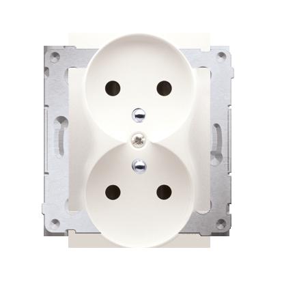 Gniazdo wtyczkowe podwójne z uziemieniem z przesłonami - do Ramek NATURE (moduł) 16A 250V, zaciski śrubowe, kremowy