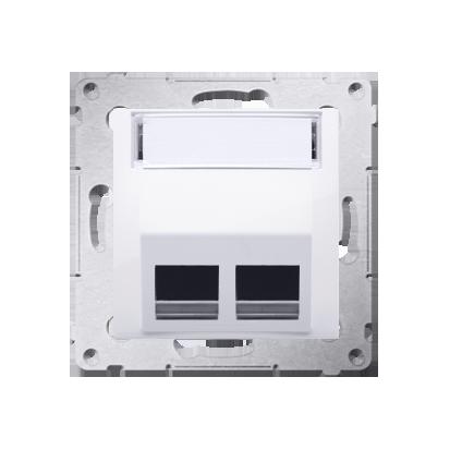 Pokrywa gniazd teleinformatycznych na Keystone skośna podwójna biały