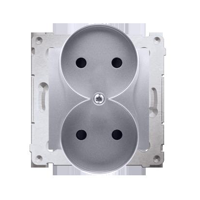 Gniazdo wtyczkowe podwójne bez uziemienia z przesłonami torów prądowych do ramek Premium (moduł) 16A 250V, zaciski śrubowe, sreb