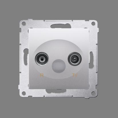Gniazdo antenowe R-TV końcowe separowane tłum.:1dB srebrny mat, metalizowany