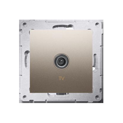 Gniazdo antenowe TV pojedyncze końcowe złoty mat, metalizowany
