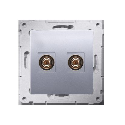 Gniazdo głośnikowe pojedyncze srebrny mat, metalizowany